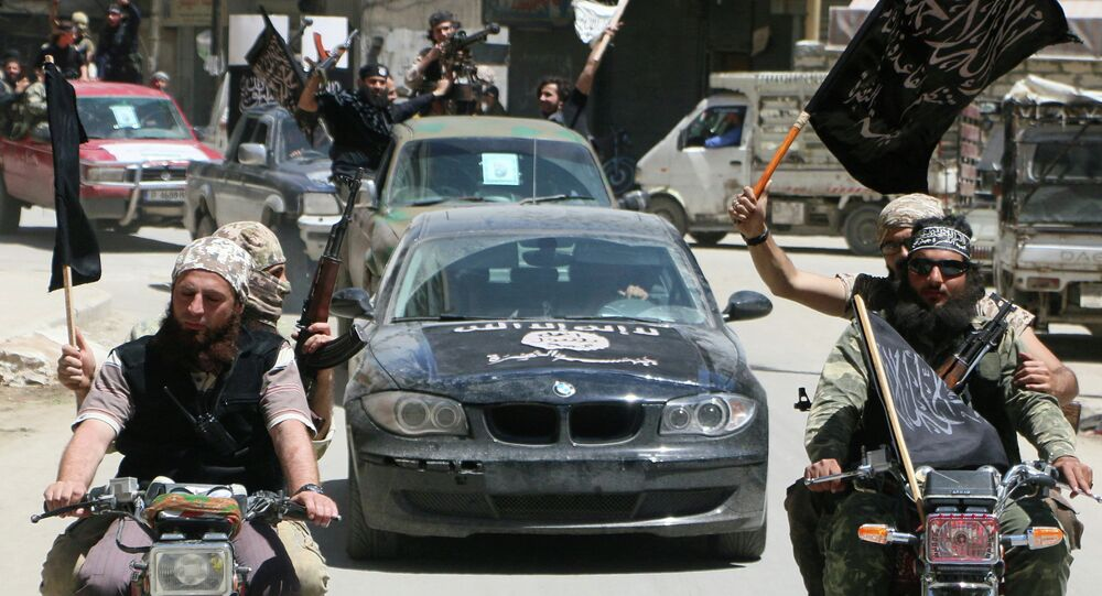 Terrorists from Al-Qaeda's Syrian affiliate Al-Nusra Front drive in the northern Syrian city of Aleppo. (File)