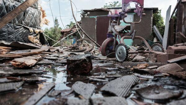 Aftermath of the shelling in Horlivka, Ukraine's Donetsk region - Sputnik International
