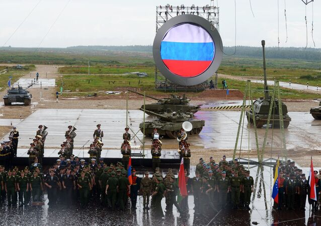 A solemn opening ceremony of the International Army Games 2015 held at the Alabino training field in the Moscow Region