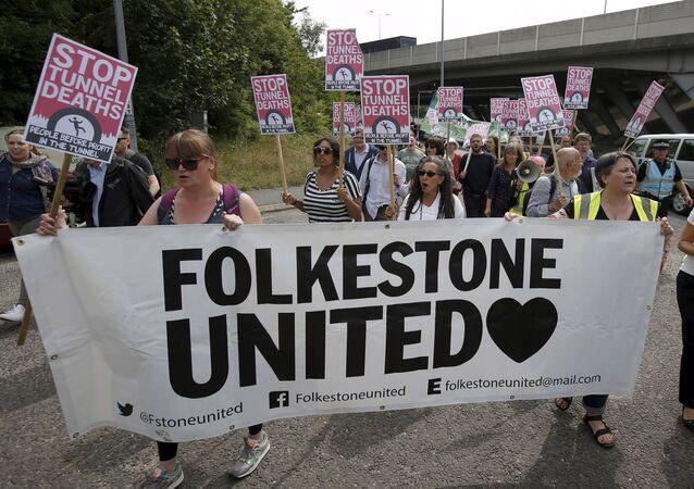 Protestors demonstrate in solidarity of migrants in Calais, in Folkestone, Britain