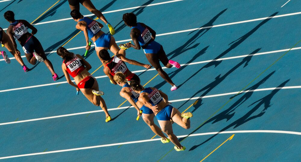 Athletes in the women's relay race at the World Championships in Athletics. (File)
