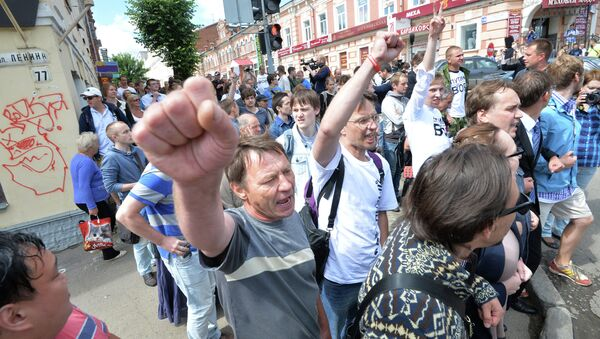 Participants in a protest rally in Moscow - Sputnik International