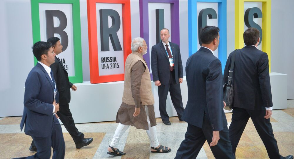 Group photograph of BRICS leaders and the leaders of the invited states