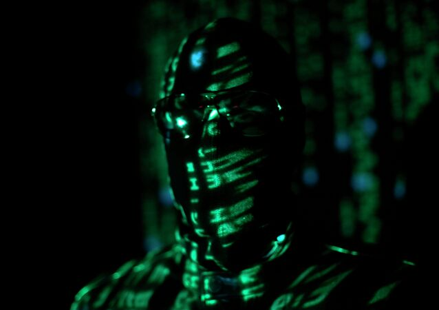 A ninja-style hacker with green matrix code