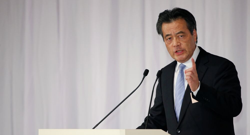 Katsuya Okada delivers a speech in a leadership election of the Democratic Party of Japan in Tokyo, Jan. 18, 2015