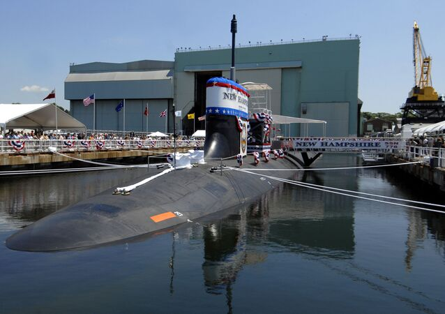 In this June 21, 2008 file photo, the nuclear-powered attack submarine New Hampshire is tied in a graving dock for christening ceremonies at Electric Boat Division, General Dynamics Corp. in Groton, Conn.
