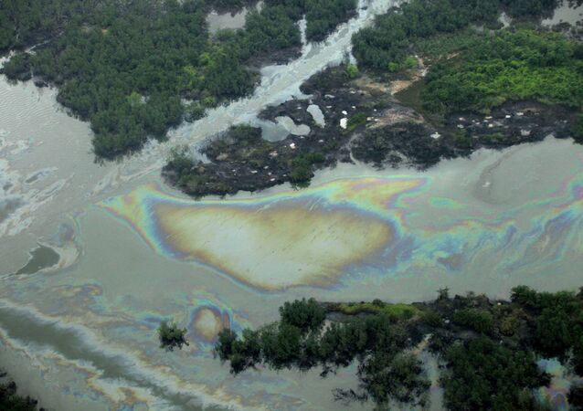 Oil is seen on the creek water's surface near an illegal oil refinery in Ogoniland, outside Port Harcourt. File photo