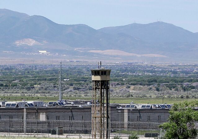 A watch tower is shown at the Utah State Correctional Facility in Draper, Utah.
