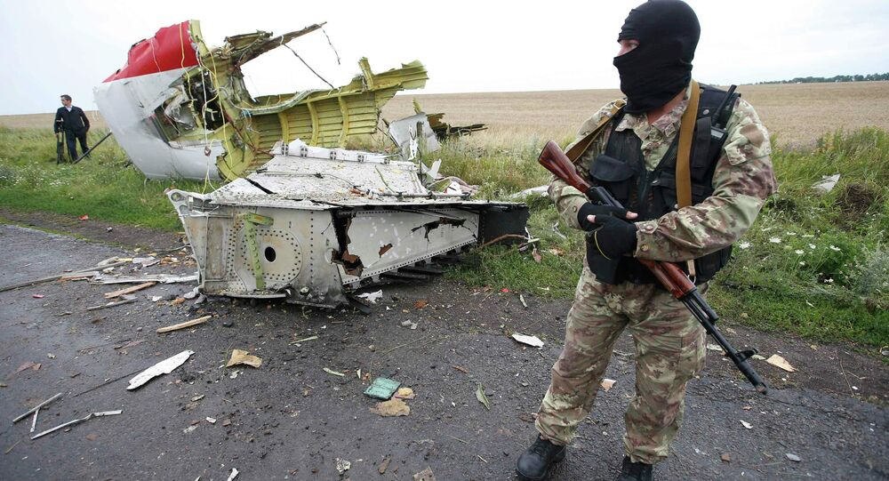 Independence supporter standing at the crash site of Malaysia Airlines flight MH17, near the settlement of Grabovo in the Donetsk region, is seen in this July 18, 2014 file photo