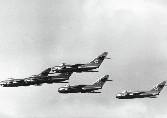Russian MIG 15 jet fighters during a demonstration at the East German Air Force Sports and Cultural Festival, at Cottbus, East Germany, on Sept. 3, 1957