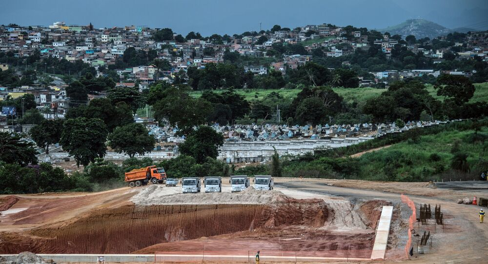 View of the Deodoro Olympic Park under construction, which will host several sports during the Rio 2016 Olympics Games, in Rio, Brazil, on April 2, 2015