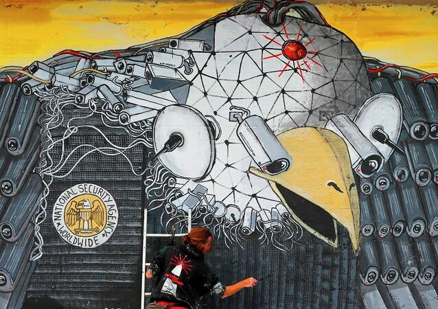 Artist A. Signl, of the artist group Captain Borderline paints the mural 'Surveillance of the fittest' at a wall in Cologne, Germany, Thursday, Oct. 24, 2013.