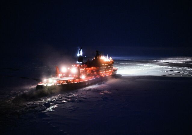 A helicopter view of NS 50 Let Pobedy nuclear-powered icebreaker sailing toward the North Pole