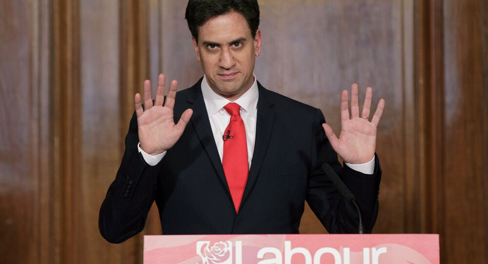 Britain's Labour Party leader Ed Miliband delivers his resignation at a press conference in Westminster, London, Friday, May 8, 2015