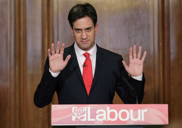 Former Labour Party leader Ed Miliband delivers his resignation at a press conference in Westminster, London, Friday, May 8, 2015.