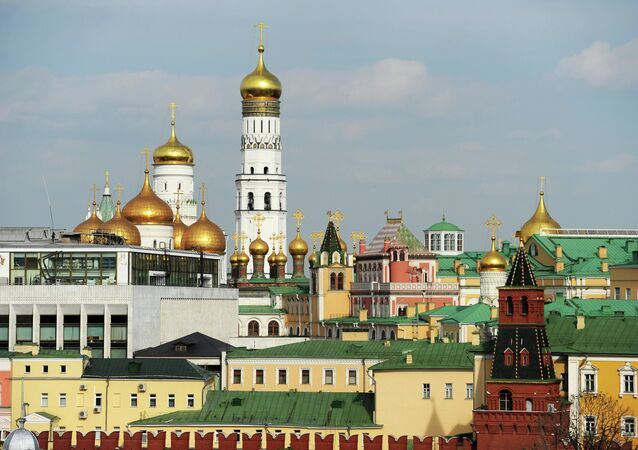 View of the Ivan the Great Belfry and the Moscow Kremlin's palaces and churches from the roof of the Lenin Russian State Library, Moscow