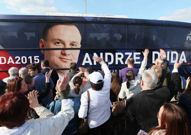 """Duda Bus,"" the campaign bus of now Poland's president Andrzej Duda."