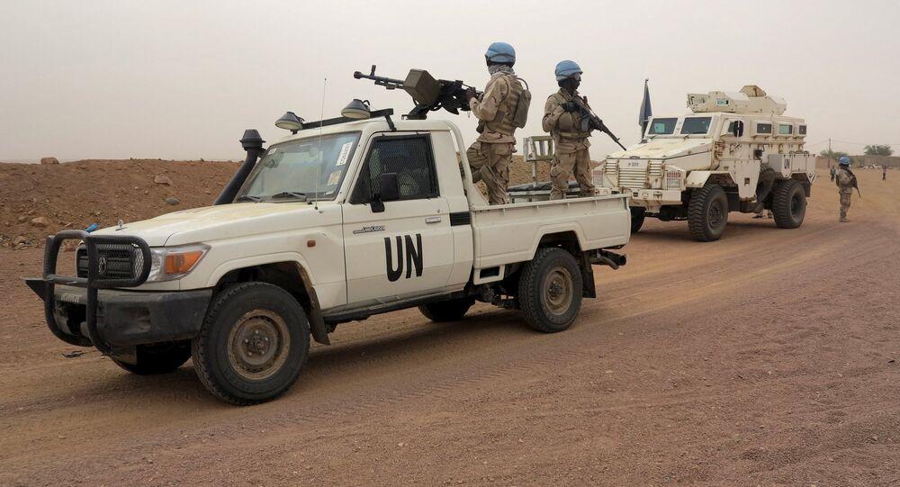 UN peacekeepers patrol in Kidal, Mali
