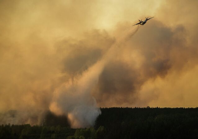 A firework plane extinguishes a forest fire in the Chernobyl area, Ukraine, Tuesday, April 28, 2015