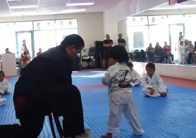 Little Boy Struggles Earn His Taekwando White Belt