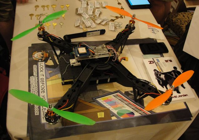 An Aerial Assault drone is displayed during a Def Con hacker gathering August 9, 2015 in Las Vegas