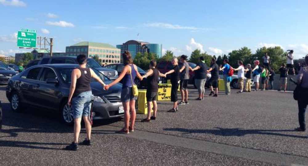 Protesters blocking highway 70