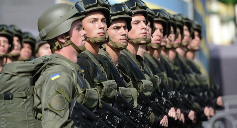 Ukrainian soldiers parade in Kiev during Ukrainian Independence Day celebrations.