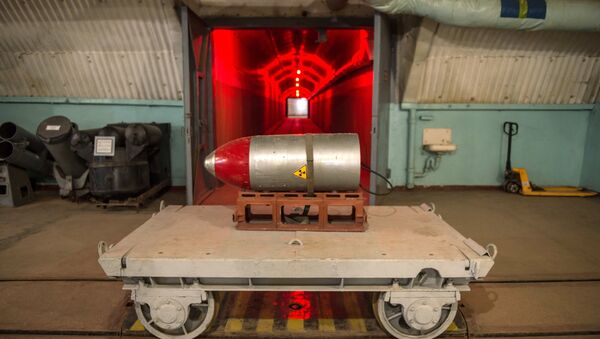 Nuclear payload on a trolley in a tunnel of the nuclear arsenal loading area at the Balaklava Naval Museum (submarine museum) in the Crimea - Sputnik International