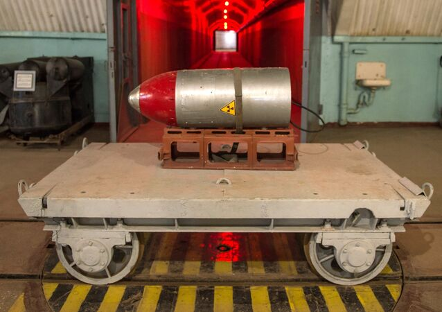 Nuclear payload on a trolley in a tunnel of the nuclear arsenal loading area at the Balaklava Naval Museum (submarine museum) in the Crimea