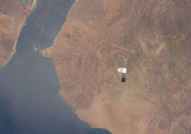 Dragon Capsule Over Gulf of Aden, Red Sea