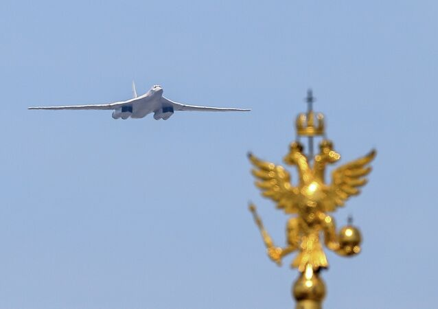 TU-160 strategic missile bomber performing at the military parade to mark the 70th anniversary of the Victory in the 1941-1945 Great Patriotic War.