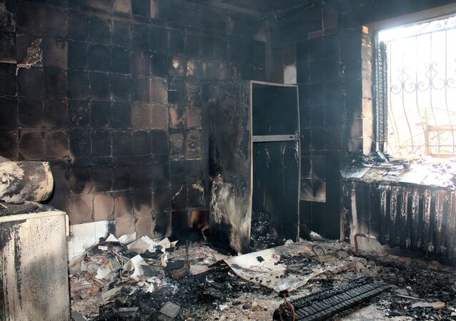 A building destroyed by shelling of the Oktyabrsky village in the Kuibyshevsky district of Donetsk