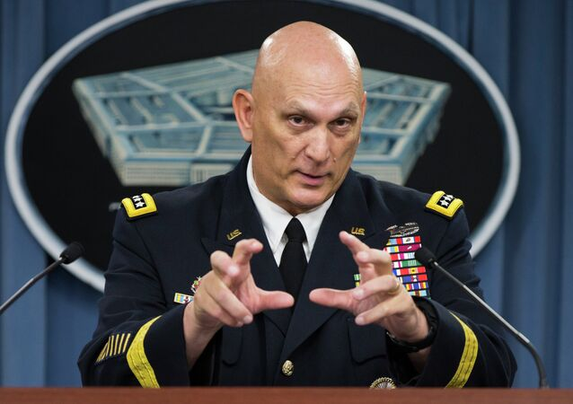 Outgoing Army Chief of Staff Gen. Ray Odierno speaks during his final news briefing at the Pentagon, on Wednesday, Aug. 12, 2015, outside Washington
