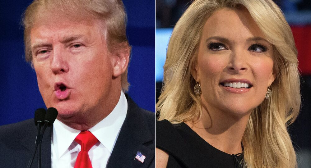 Republican presidential candidate Donald Trump and Fox News Channel host and moderator Megyn Kelly during the first Republican presidential debate.