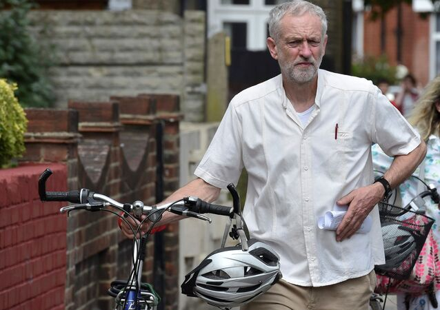 British Labour Party politician Jeremy Corbyn arrives for a community meeting in north London August 9, 2015