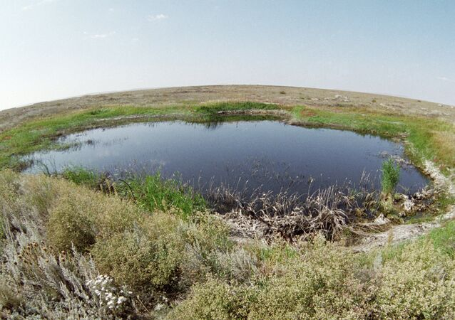 A lake in the place of a surface nuclear explosion on the Semipalatinsk proving ground