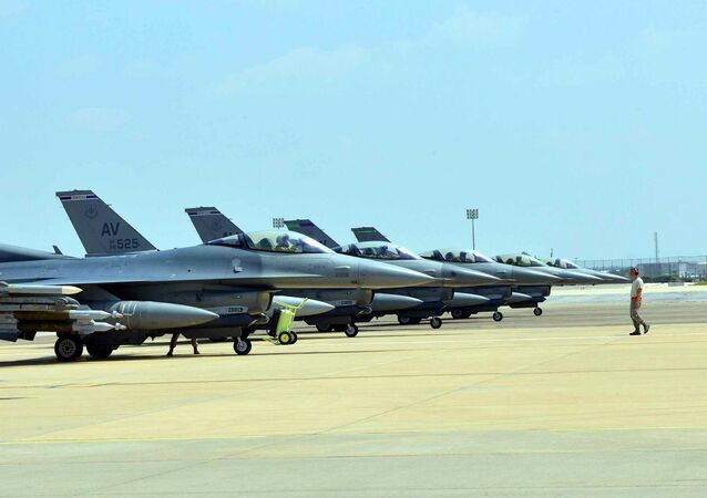 Six US Air Force F-16 Fighting Falcons from Aviano Air Base, Italy, are seen at Incirlik Air Base, Turkey, after being deployed, in this US Air Force handout picture taken August 9, 2015