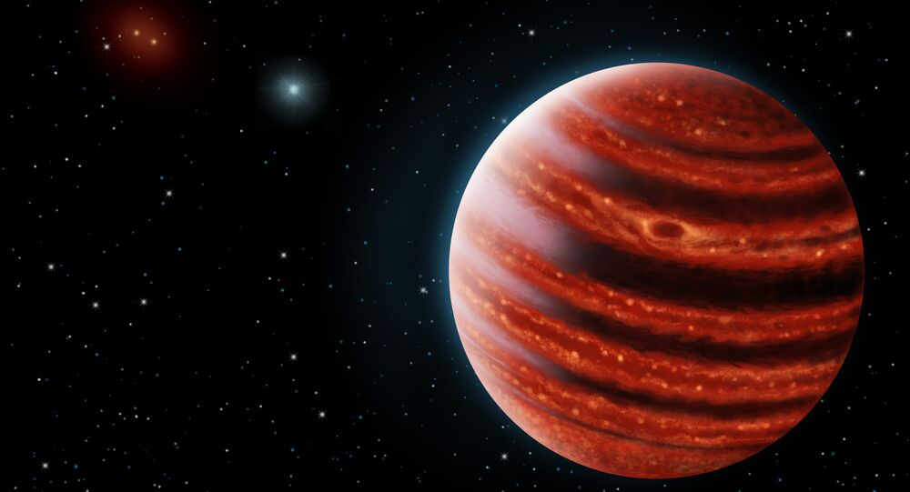An artistic conception of the Jupiter-like exoplanet, 51 Eri b, seen in the near-infrared light that shows the hot layers deep in its atmosphere glowing through clouds
