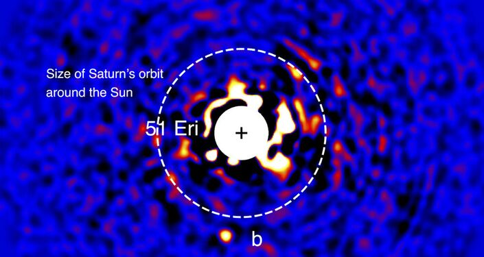 Discovery image of 51 Eri b with the Gemini Planet Imager taken in the near-infrared light on December 18, 2014