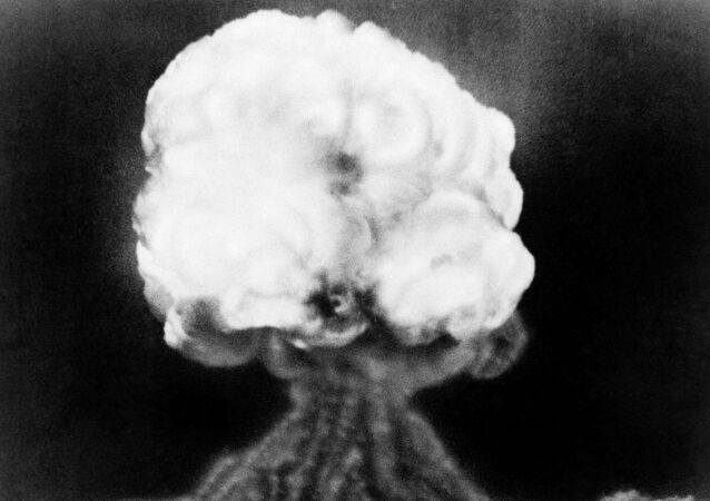 The mushroom cloud of the first atomic explosion at Trinity Test Site, New Mexico. July 16, 1945