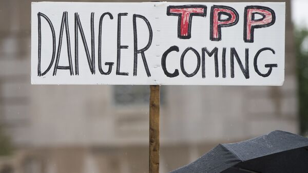 Demonstrators protest against the legislation to give US President Barack Obama fast-track authority to advance trade deals, including the Trans-Pacific Partnership (TPP) - Sputnik International