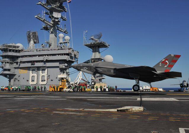 F-35C landing on USS Nimitz (CVN-68) in November 2014