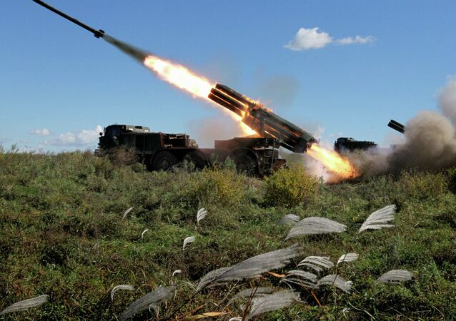 The BM-27 Uragan self-propelled multiple rocket launcher system during a military exercise of artillery units