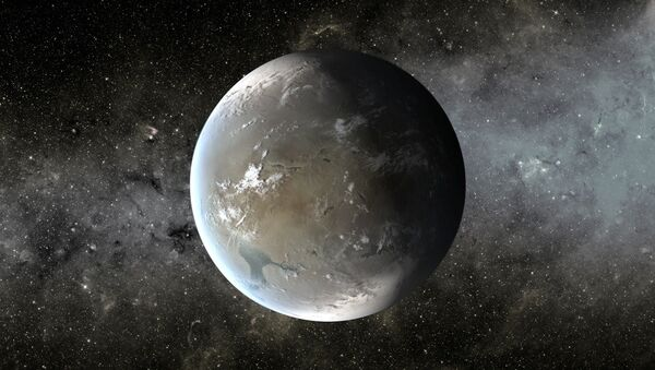 An artist's image of Kepler-62f, a rocky world that could boast oceans of water, given the right atmosphere. - Sputnik International