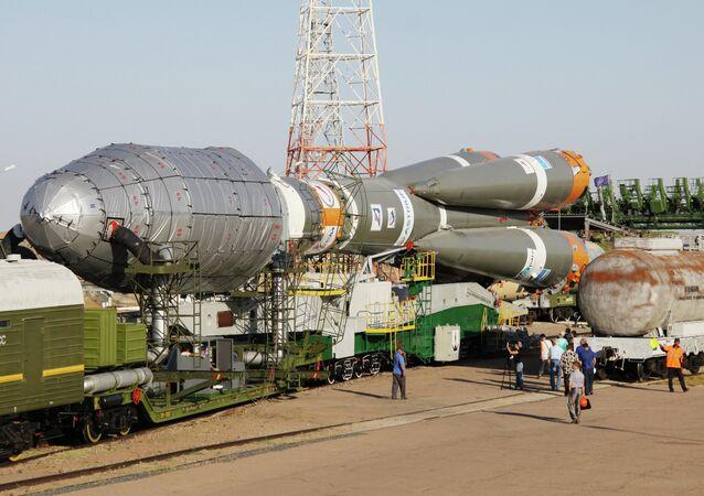 Soyuz 2.1a rocket launcher delivered to Baikunur launch site