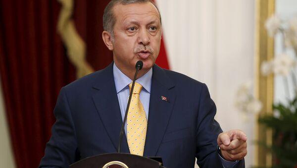 Turkey's President Recep Tayyip Erdogan speaks at a joint media briefing with Indonesia's President Joko Widodo at the presidential palace in Jakarta, Indonesia July 31, 2015 - Sputnik International