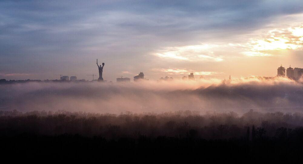 Kiev skyline in a fog