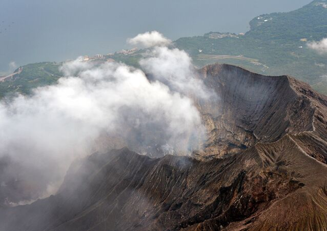 An aerial view shows the crater atop Mt. Sakurajima in Kagoshima, southwestern Japan, in this photo taken by Kyodo August 15, 2015