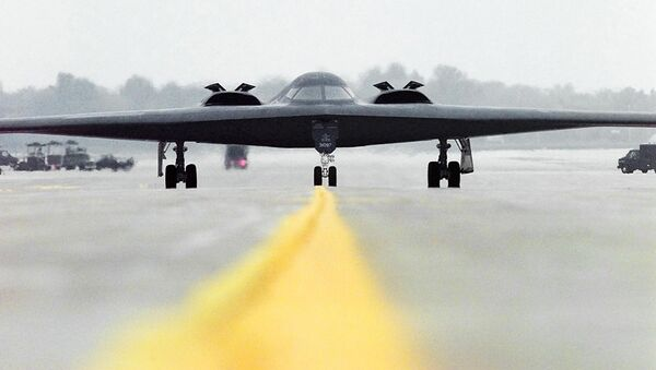 This image obtained from the US Air Force 23 October, 2001 shows a B-2 Spirit Stealth Bomber Spirit of Alaska, from the 393rd Bomb Squadron out of Whiteman Air Force Base, Mo., as it taxis out to take offThis image obtained from the US Air Force 23 October, 2001 shows a B-2 Spirit Stealth Bomber Spirit of Alaska, from the 393rd Bomb Squadron out of Whiteman Air Force Base, Mo., as it taxis out to take off - Sputnik International