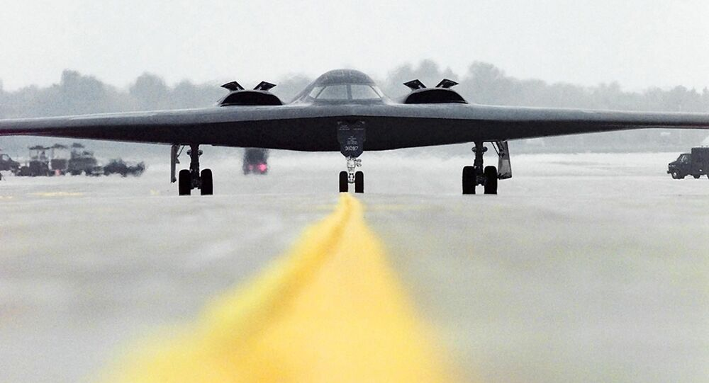 This image obtained from the US Air Force 23 October, 2001 shows a B-2 Spirit Stealth Bomber Spirit of Alaska, from the 393rd Bomb Squadron out of Whiteman Air Force Base, Mo., as it taxis out to take offThis image obtained from the US Air Force 23 October, 2001 shows a B-2 Spirit Stealth Bomber Spirit of Alaska, from the 393rd Bomb Squadron out of Whiteman Air Force Base, Mo., as it taxis out to take off